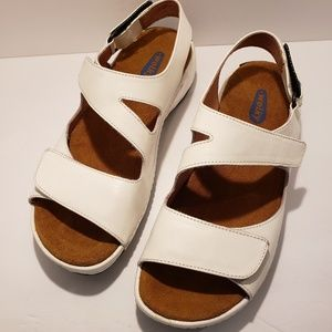 Wolky Liana White Leather Walking Sandals